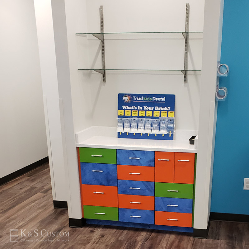 Triad Kids Dental colored laminate cabinet