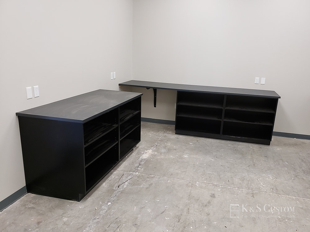 Canteen Vending custom cabinets with black finish