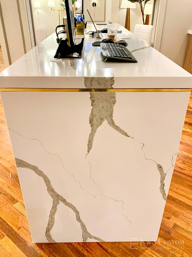 Veined marble welcome desk