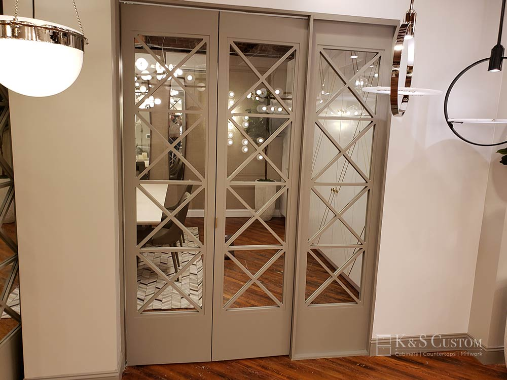 Custom sliding doors with glass inserts